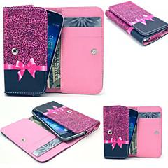 léopard rouge pu style portefeuille en cuir cas complet du corps et de la fente de la carte pour l'iphone taille portable