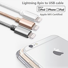 assorterte farger eple mfi sertifisert lyn til usb data synkronisering lader flette kabel for iphone 6 / 6plus / 5s / 5 / ipad (100cm)