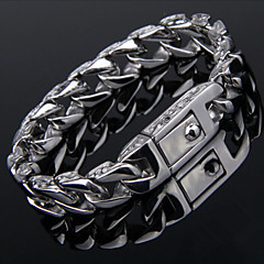 Toonykelly Fashion 22CM Men's Stainless Steel Silver Bracelet(Silver)(1PC)