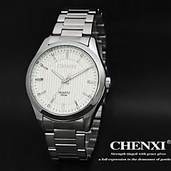 vestido de diseño simple de los hombres chenxi® correa de reloj de acero de plata resistente al agua calendario de cuarzo japonés