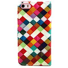 caso de corpo inteiro do arco-íris padrão de couro pu com suporte para o iPhone 5 / 5s