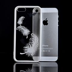 branco fronteira padrão de pena caso de telefone de material de combinação transparente para iPhone 5 / 5s