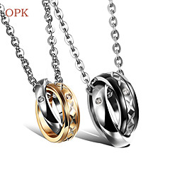 OPK®Fashion 18 K Gold Plating Titanium Necklace Set Auger Couples Love  Gift