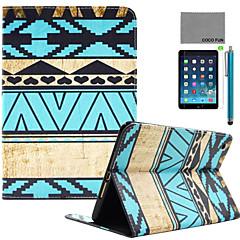 coco FUN® bleu sarcelle motif tribal pu cas du stand de cuir flip avec protecteur d'écran et un stylet pour Apple iPad mini-1/2/3