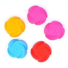 Silicone Cake Chocolate Pudding Jelly Mold With Baking Oven Silicone Mold Muffin Cup (Rose)(5 PCS) (Color Random)