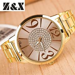 Women's Fashion Diamond Number Mirror Quartz Analog Steel Belt Watch
