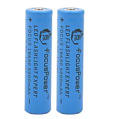 Focus Power 4.2V 5000mAh 18650 Rechargeable Lithium Ion Battery(2pcs)