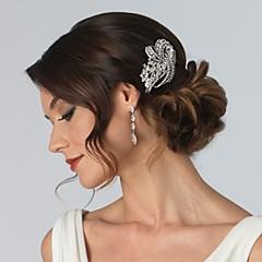 Femei Fata cu Flori Argint veritabil Cristal Aliaj Diadema-Nuntă Ocazie specială Piepteni de Păr Flori