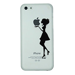 Girl Holds The Apple Label Pattern PC Hard Back Cover Case for iPhone 5C