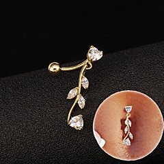 Fashion Stainless Steel Zircon Tree Leaf  Navel Belly Button Ring Dancing Body Jewelry Piercing