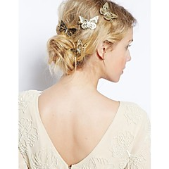 Europe and America Gold Butterfly Fashion Alloy Hairpin 1pc