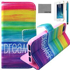arco-íris fun® Coco padrão sonhador estojo de couro pu com protetor de tela e cabo USB e caneta para iPhone 5 / 5s