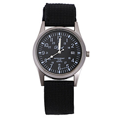 Male Female Fashion co Cloth Woven Belt Round Military Transport Chinese Watch Movement(Assorted Colors)