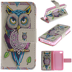 Personality Owls PU Leather Full Body Cover with Stand and Money Holder for iPhone 4/4S