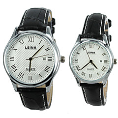 Couple's Wristwatch Dress Watch Real leather Band Quartz Wrist Watch (Assorted Colors)
