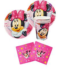 56pcs Minnie Mouse anniversaire de bébé décoration décorations de fête pour enfants articles de fête de la partie 18 personnes utilisent