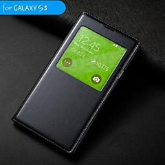 grote d auto slaap / waak-up met waterdichte cirkel flip case voor Samsung Galaxy i9600 s5 (verschillende kleuren)