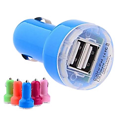 dc 12-24V 2.1a / 1a dual-usb mini auto billader adapter for iphone og andre (assorterte farger)