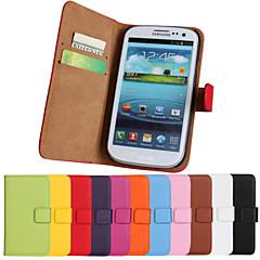 couro genuíno caso de aleta de corpo inteiro com slot para cartão e ficar caso para Samsung Galaxy S3 i9300 (cores sortidas)