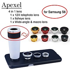 Apexel 4 in 1 12X White Telephoto Lens+Fisheye Lens+Wide-angle+Macro Camera Lens with Case for Samsung Galaxy S6