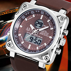Herren Armbanduhr Quartz LCD / Kalender / Chronograph / Wasserdicht / Duale Zeitzonen / Alarm Caucho Band Schwarz / Weiß / Blau / Braun