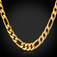 U7® Men's 18K Chunky Gold Filled Figaro Chain Necklace For Men 4MM,28 Inches (71CM)