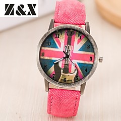 Women's Fashion Diamond Colorful Flag Design Quartz Analog Denim Cloth Band Wrist Watch(Assorted Colors)