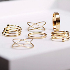 Ring Daily / Casual Jewelry Alloy Women Midi Rings 1set,8 Gold