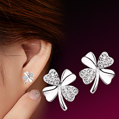 2016 Korean Unisex 925 Silver Sterling Silver Jewelry Earrings Clover Stud Earrings 1Pair
