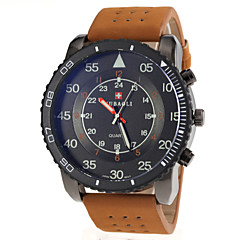 Men's Military Style Khaki PU Band Quartz Wrist Watch
