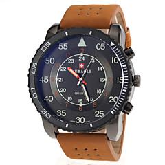 mænds militær stil khaki pu band quartz armbåndsur