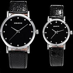 casal com strass rodada placa preta impermeável de quartzo de couro pu relógio movimento
