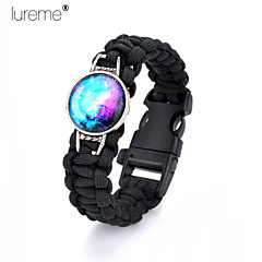 Lureme®Europestyle Brief Black Weave Parachute Cord Blue Starry Sky Time Gem Survival Whistle Alloy Bracelet