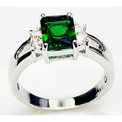 Size 5/6/7/8/9/10 High Quality Women Green Sapphire Rings 10KT White Gold Filled Ring