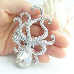 kvinder tilbehør sølv-tone klar rhinestone krystal blæksprutte broche art deco krystal broche kvinder smykker