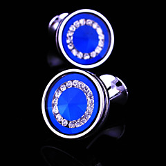 Toonykelly® Fashion Silver Plated Round CZ Zircon Crystal Men Handsome Shirt Cufflink Button(1 Pair)