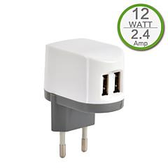 πιστοποίηση CE φορτιστής δύο USB τοίχο, ευρώπη βύσμα, 5V εξόδου 2..4a, για το iphone 5 iphone 6 / συν, ipad, μίνι ipad, ipad4