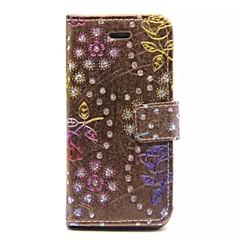 diamant rose carte modèles de porte-monnaie en cuir PU cas complète du corps pour iphone 5 / 5s (couleurs assorties)