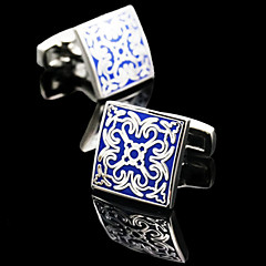 Toonykelly® Fashion Silver Plated Men Blue Enamel Handsome Shirt Square Cufflink Button(1 Pair)