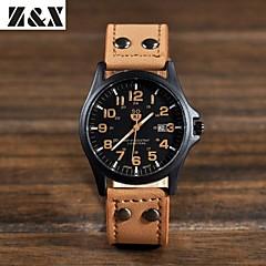 Heren Militair horloge Kwarts Leer Band Zwart / Bruin / Groen / Geel Merk-
