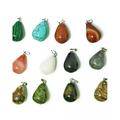 Beadia 24pcs Mixed Color Natural Gemstone Charm Pendant Beads 13x18mm Tear Drop Shape Stone Fit Pendant Necklaces