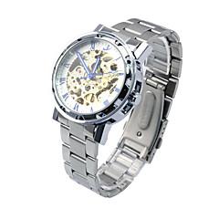 Self-Wind Pierced Mechanical Silver Gold Men's Waterproof  Sport Wrist Watch  Male Casual