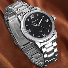 Couple's Simple Silver Alloy Band diamond round dial Quartz waterproof Wrist Watch