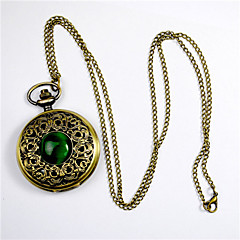 Fashion Round Shaped High Density Organic Glass  Green Cat Large Pocket Watch(Bronze)(1Pc)