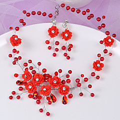 China Style Wedding Handmade Bride Jewelry Red White Crystal Pearl Necklace Earrings Set