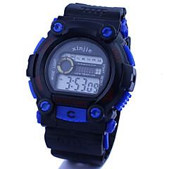 Herren Armbanduhr digital LCD / Kalender / Chronograph / Wasserdicht Caucho Band Schwarz / Blau Marke-