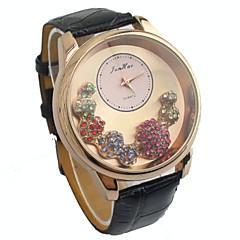 Women's Diamante round Dial PU Band Quartz Analog Wrist Watch