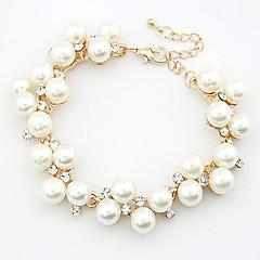 European Style Fashion Elegant Rhinestone Imitation Pearl Chain Bracelet Christmas Gifts