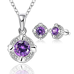 Simple Round Shape Silver Plated Copper Zircon Party Jewelry Sets For Women's(Purple,White)(1Set)