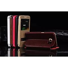 Para Samsung Galaxy Capinhas Com Suporte / com Visor Capinha Corpo Inteiro Capinha Cor Única Couro PU para SamsungS7 edge / S7 / S6 edge